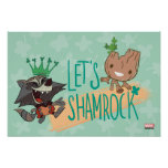 "Rocket & Baby Groot ""Let's Shamrock"" Poster"