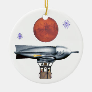 Rocket Balloon Ceramic Ornament