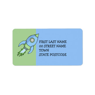 Rocket blue green Address Label