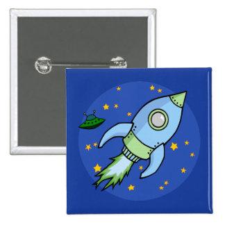 Rocket blue green Button