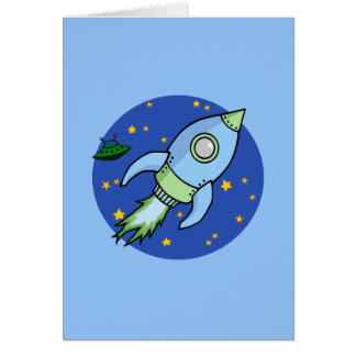 Rocket blue green Card