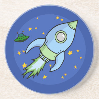 Rocket blue green Coaster