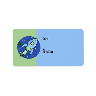 Rocket blue green Gift Tag label