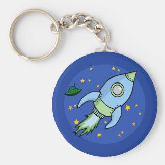 Rocket blue green Keychain