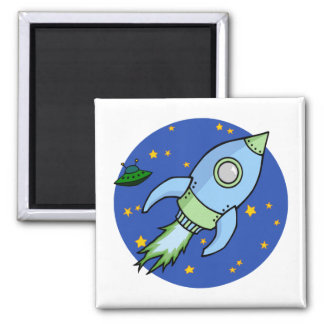 Rocket blue green Magnet
