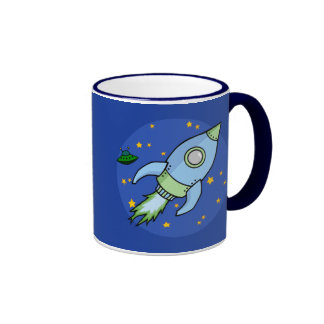 Rocket blue green Mug