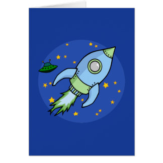 Rocket blue green Note Card