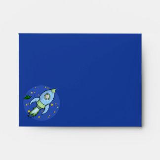Rocket blue green Note Card Envelope