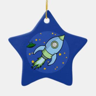 Rocket blue green Ornament