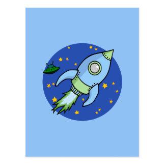 Rocket blue green Postcard