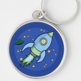 Rocket blue green Premium Keychain