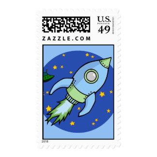 Rocket blue green Stamp