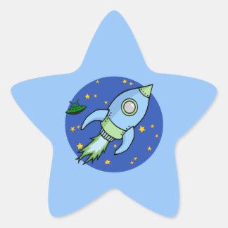 Rocket blue green Star Sticker