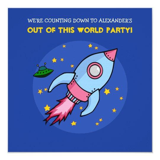 Rocket blue pink Birthday Invitation