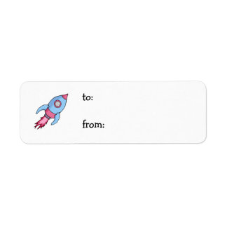 Rocket blue pink small Gift Tag Label
