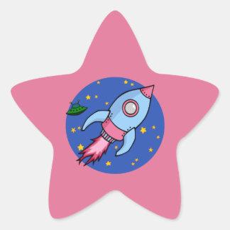 Rocket blue pink Star Sticker