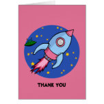 Rocket blue pink Thank You Note Card
