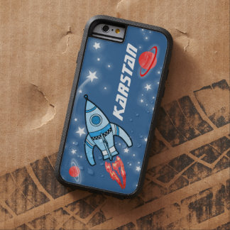 Rocket blue red name tough iphone space case
