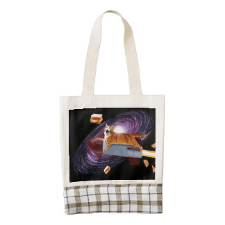 Rocket cat zazzle HEART tote bag