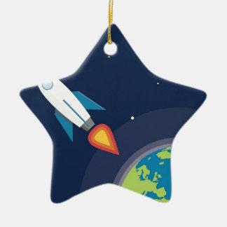 Rocket en diseño gráfico de la tierra de la luna adorno navideño de cerámica en forma de estrella