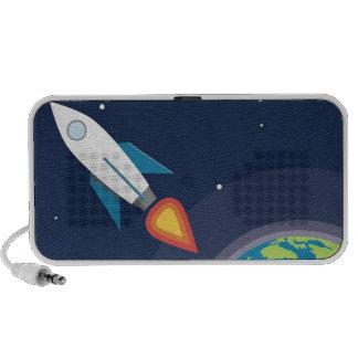 Rocket en diseño gráfico de la tierra de la luna d iPod altavoz