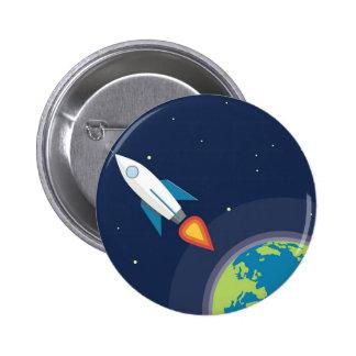Rocket en diseño gráfico de la tierra de la luna d pin