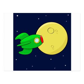 Rocket en la luna postal