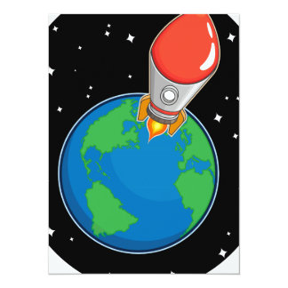 Rocket Fly from Earth Card