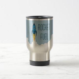 Rocket Fuel Blue Cartoon Rocketship Funny Travel Mug