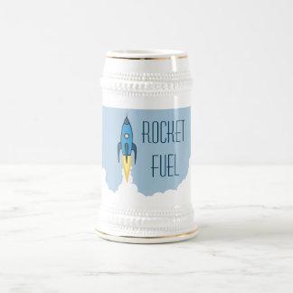 Rocket Fuel Blue Retro Cartoon Rocketship Funny Beer Stein