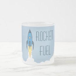Rocket Fuel Blue Retro Cartoon Rocketship Funny Frosted Glass Coffee Mug