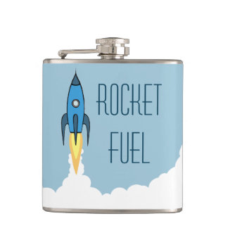 Rocket Fuel Blue Retro Cartoon Rocketship Funny Hip Flask