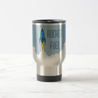 Rocket Fuel Blue Retro Cartoon Rocketship Funny Travel Mug