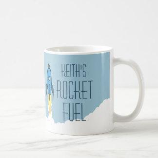 Rocket Fuel Blue Retro Rocketship Personalized Coffee Mug