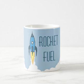 Rocket Fuel Blue Rocketship Classic White Coffee Mug
