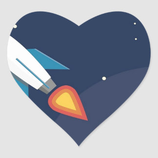 Rocket In Space Moon Earth Graphic Design Heart Sticker