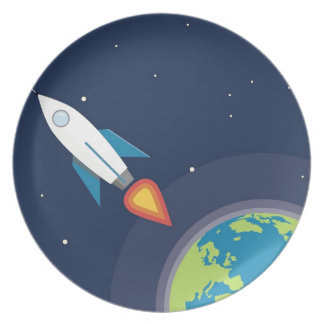 Rocket In Space Moon Earth Graphic Design Party Plates