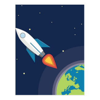 Rocket In Space Moon Earth Graphic Design Postcard