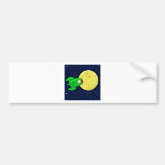 Rocket in the moon bumper sticker