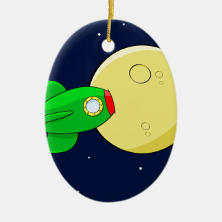 Rocket in the moon ceramic ornament
