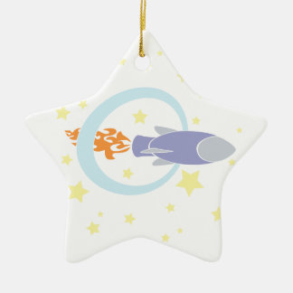 Rocket Kids Retro Space Ship Ceramic Ornament