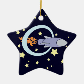 Rocket Kids Retro Space Ship (Night) Ceramic Ornament