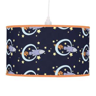 Rocket Kids Retro Spaceship Night Sky Ceiling Lamp