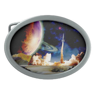 Rocket Launch Oval Belt Buckles
