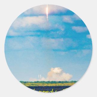 Rocket Launch Classic Round Sticker