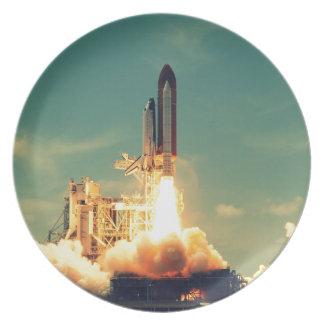 Rocket launch dinner plate