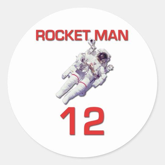 Rocket Man 12 Basketball Astronaut Classic Round Sticker