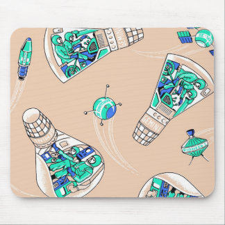 Rocket Man Retro Gemini Rockets in Space Mouse Pad