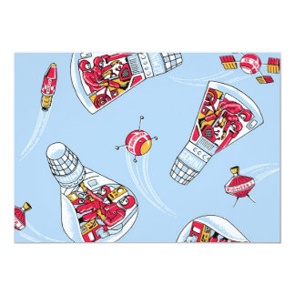 Rocket Man Retro Gemini Rockets in Space Party Card