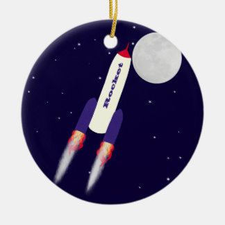 Rocket of Red White and Blue in Space Cartoon Art Ceramic Ornament